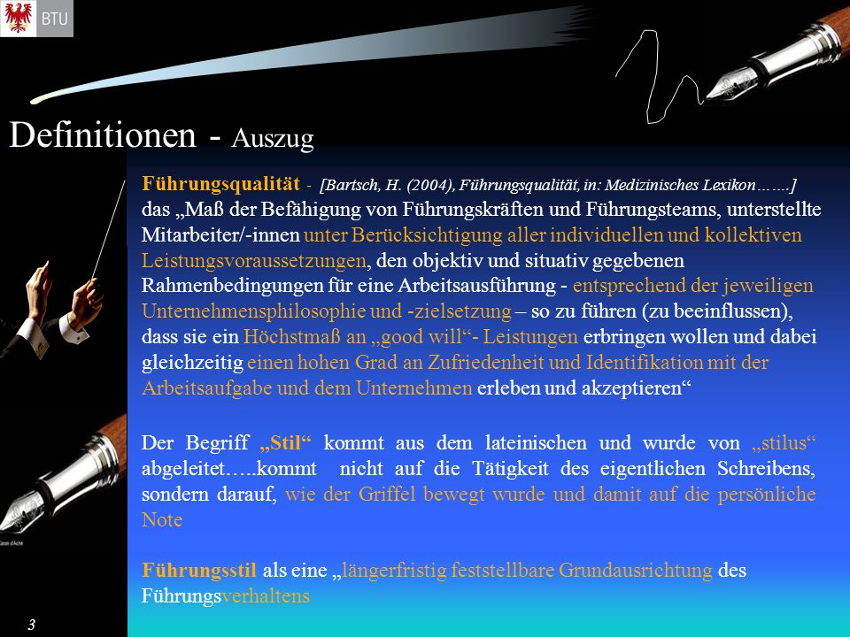 Definitionen - Auszug Führungsqualität - [Bartsch, H. (2004), Führungsqualität, in: Medizinisches Lexikon…….]
